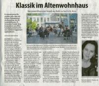 Klassik im Altenwohnhaus - Stadtspiegel im September 2020 -