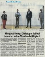 Christoph Sebbel beendet seine Vorstandstätigkeit - Halterner Zeitung im August 2020 -