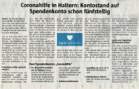 Coronahilfe - Kontostand schon fünfstellig - Halterner Zeitung im April 2020