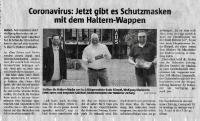 Schutzmasken mit Haltern-Wappen - Halterner Zeitung im Mai 2020 -